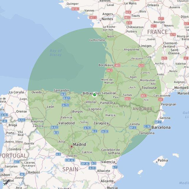 Map Of Spain Showing San Sebastian.San Sebastian Helipad Helicopter Charter Service San Sebastian