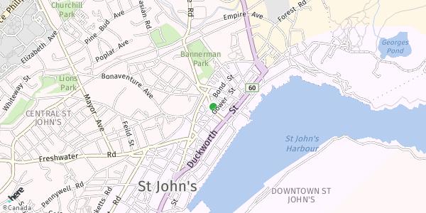 HERE Map of 52 Prescott Street. St. John's, Newfoundland, Canada.