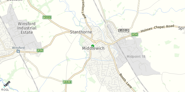 HERE Map of  Middlewich , UK