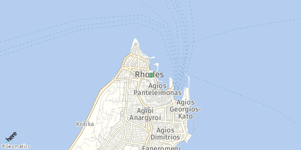 HERE Map of  Rhodes Town , Greece