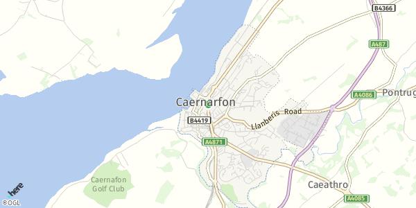 HERE Map of  Caernarfon , UK