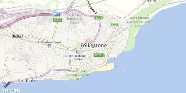 HERE Map of  Folkestone , UK
