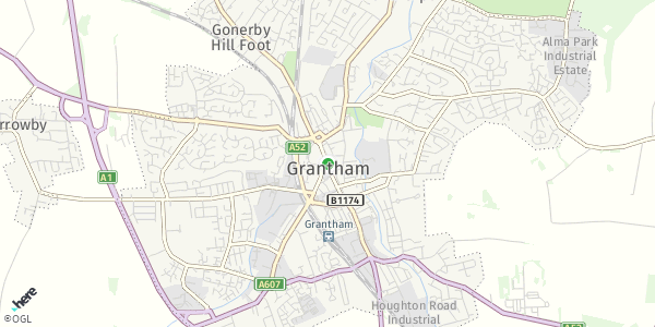 HERE Map of  Grantham , UK