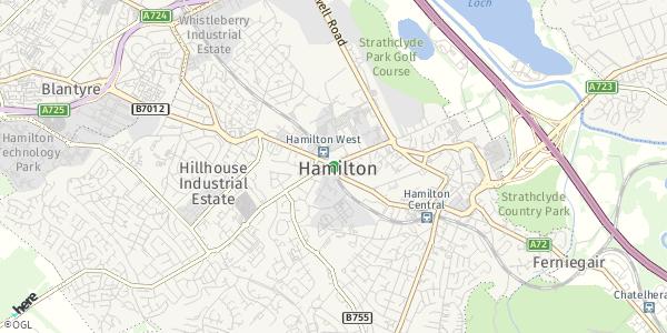HERE Map of Hamilton, UK