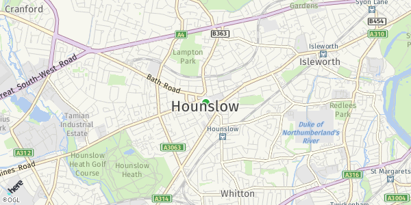 HERE Map of  Hounslow , UK