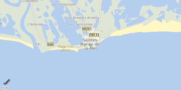 HERE Map of Les Saintes-Maries-de-la-Mer, France