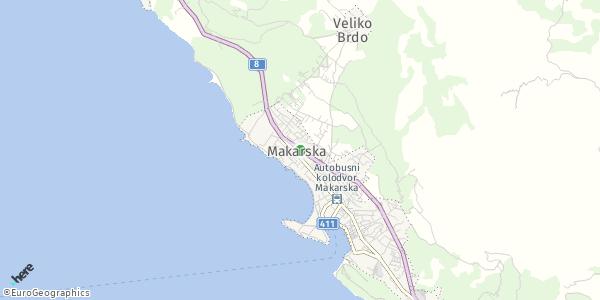 HERE Map of Makarska, Croatia