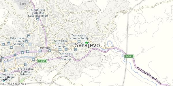 HERE Map of Sarajevo, Bosnia-Herzegovina
