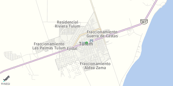HERE Map of Tulum, Mexico